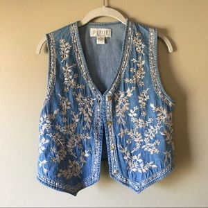Vintage 90s Embroidered Denim Cropped Vest